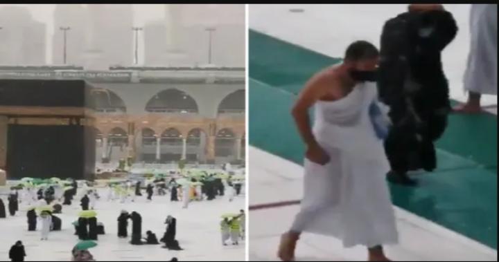 صورة شاهد بالفيديو…لحظة هروب الحجاج من صحن الطواف في المسجد الحرام